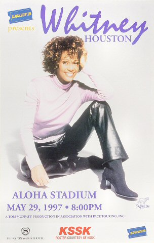 "Whitney Houston Poster from Aloha Stadium on 29 May 97: 11 3/4"" x 18 1/2"""