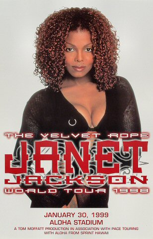 "Janet Jackson Poster from Aloha Stadium on 30 Jan 99: 11"" x 17"""