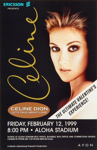 "Celine Dion Handbill from Aloha Stadium on 12 Feb 99: 5 1/2"" x 8 1/2"""