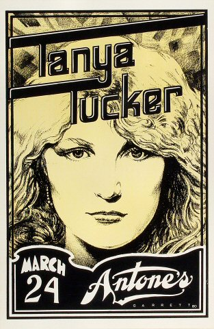 "Tanya Tucker Poster from Antone's on 24 Mar 80: 11 1/2"" x 17 1/2"""