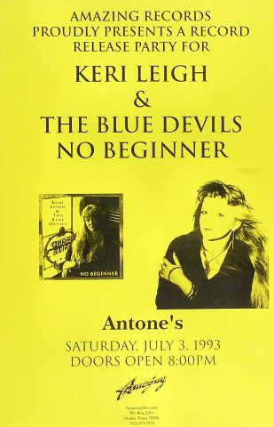 """Keri Leigh and The Blue Devils Poster from Antone's on 03 Jul 93: 11"""" x 17"""""""