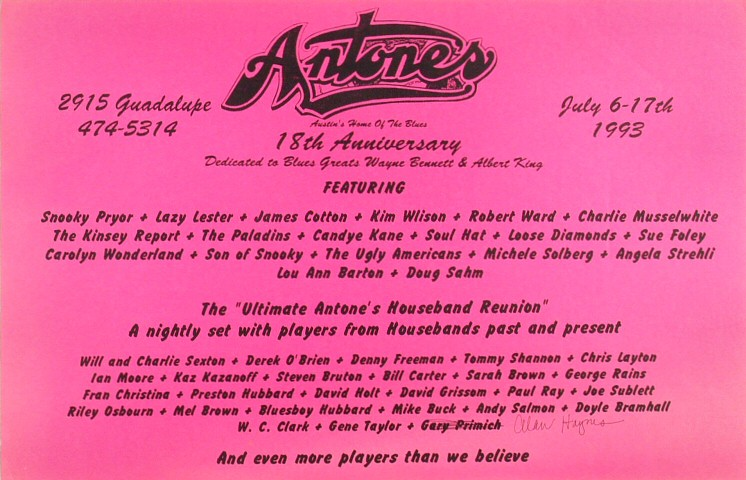 "Snooky Pryor Poster from Antone's on 06 Jul 93: 11"" x 17"""