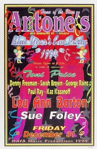 """Toni Price Poster from Antone's on 31 Dec 94: 11"""" x 17"""""""