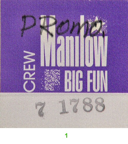 Barry Manilow Backstage Pass from Arco Arena on 17 Jul 88: Pass 1