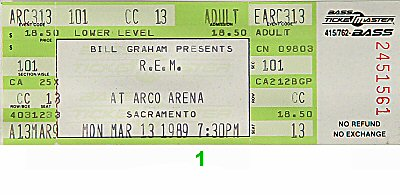 R.E.M. 1980s Ticket from Arco Arena on 13 Mar 89: Ticket One