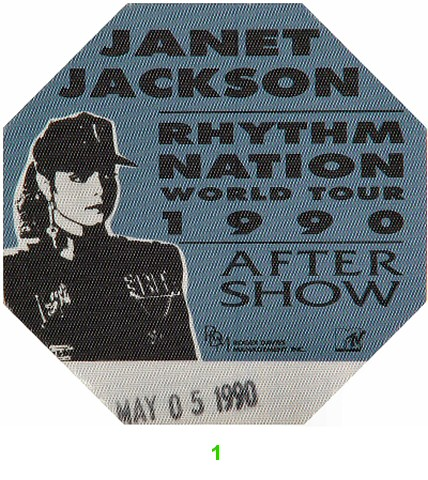 Janet Jackson Backstage Pass from Arco Arena on 05 May 90: Pass 1