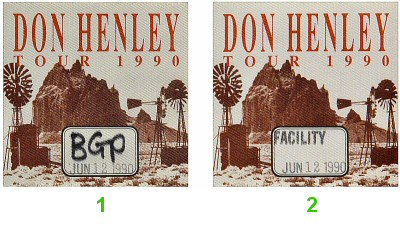 Don Henley Backstage Pass from Arco Arena on 12 Jun 90: Pass 1