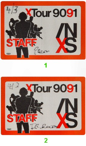 INXS Backstage Pass from Arco Arena on 03 Apr 91: Pass 2