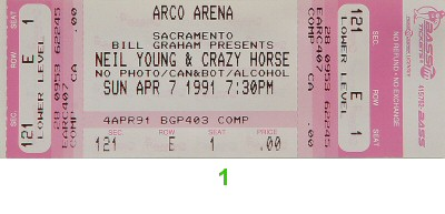 Neil Young & Crazy Horse 1990s Ticket from Arco Arena on 07 Apr 91: Ticket One