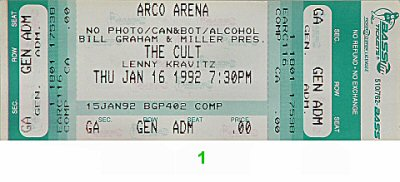 The Cult 1990s Ticket from Arco Arena on 16 Jan 92: Ticket One