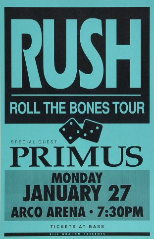 "Rush Poster from Arco Arena on 27 Jan 92: 11"" x 17"""