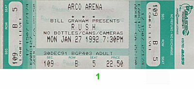 Rush 1990s Ticket from Arco Arena on 27 Jan 92: Ticket One