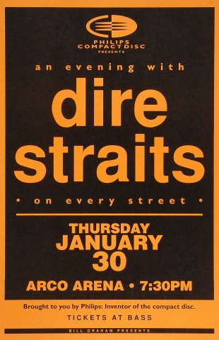 "Dire Straits Poster from Arco Arena on 30 Jan 92: 11"" x 17"""