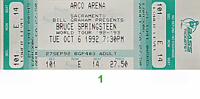 Bruce Springsteen 1990s Ticket from Arco Arena on 06 Oct 92: Ticket One