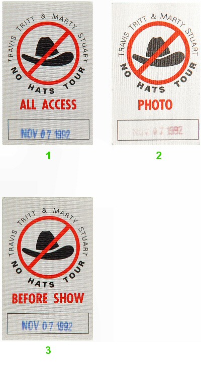 Travis Tritt Backstage Pass from Arco Arena on 07 Nov 92: Pass 1