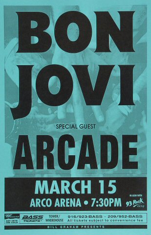 "Bon Jovi Poster from Arco Arena on 15 Mar 93: 11"" x 17"""