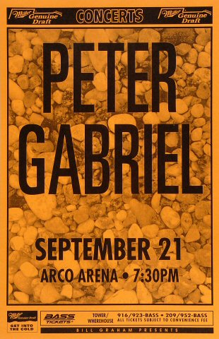 "Peter Gabriel Poster from Arco Arena on 21 Sep 93: 11"" x 17"""