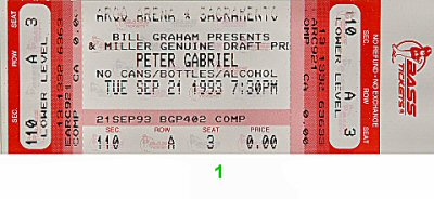 Peter Gabriel 1990s Ticket from Arco Arena on 21 Sep 93: Ticket One