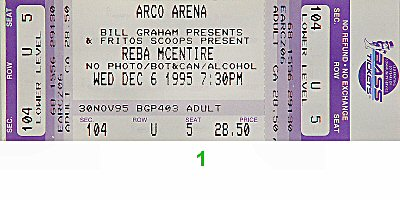 Reba McEntire 1990s Ticket from Arco Arena on 06 Dec 95: Ticket One