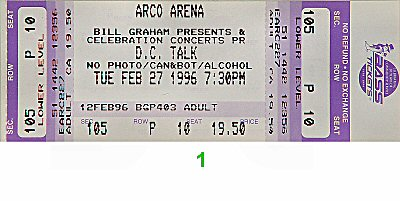 D.C. Talk 1990s Ticket from Arco Arena on 27 Feb 96: Ticket One