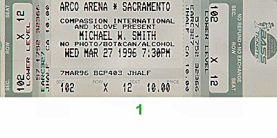 Michael W. Smith 1990s Ticket from Arco Arena on 27 Mar 96: Ticket One