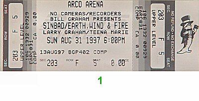 Sinbad 1990s Ticket from Arco Arena on 31 Aug 97: Ticket One
