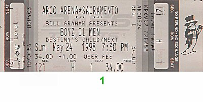 Boyz II Men 1990s Ticket from Arco Arena on 24 May 98: Ticket One