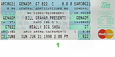 The Wallflowers 1990s Ticket from Arco Arena on 21 Jun 98: Ticket One