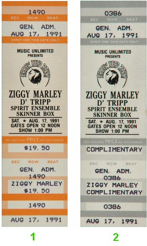 Ziggy Marley 1990s Ticket from Arrowhead Ranch on 17 Aug 91: Ticket Two