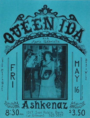 "Queen Ida Handbill from Ashkenaz on 16 May 75: 8 1/2"" x 11"""