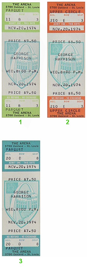 George Harrison 1970s Ticket from St. Louis Arena on 20 Nov 74: Ticket Two