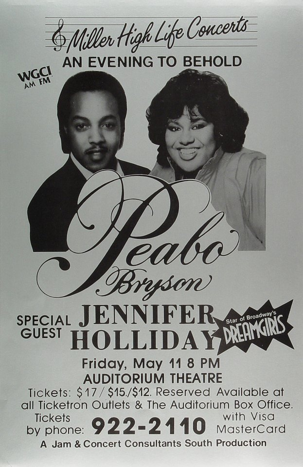 "Peabo Bryson Poster from Auditorium Theatre on 11 May 79: 11"" x 17"""