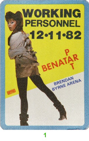 Pat Benatar Backstage Pass from Brendan Byrne Arena on 11 Dec 82: Pass 1