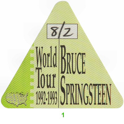 Bruce Springsteen Backstage Pass from Brendan Byrne Arena on 02 Aug 92: Pass 1