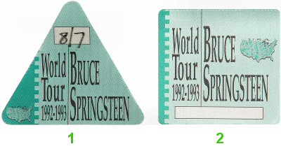 Bruce Springsteen Backstage Pass from Brendan Byrne Arena on 07 Aug 92: Pass 1