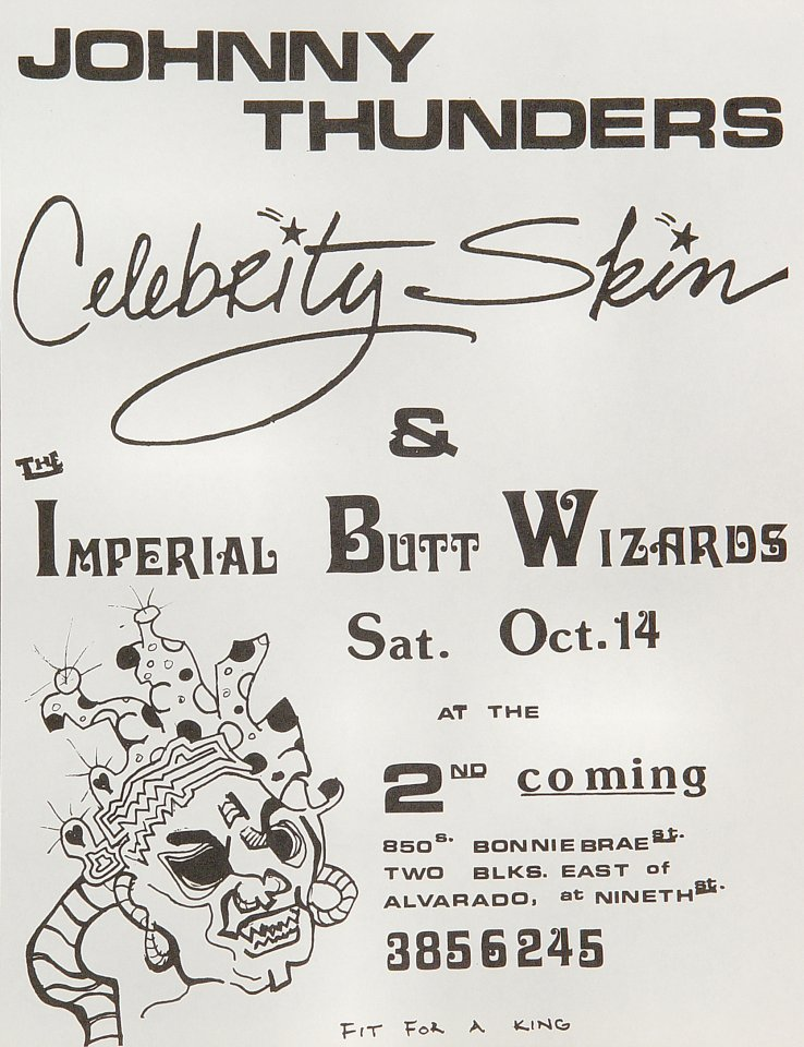 "Johnny Thunders Handbill from 850 S. Bonnie Brae Street on 14 Oct 89: 8 1/2"" x 11"""