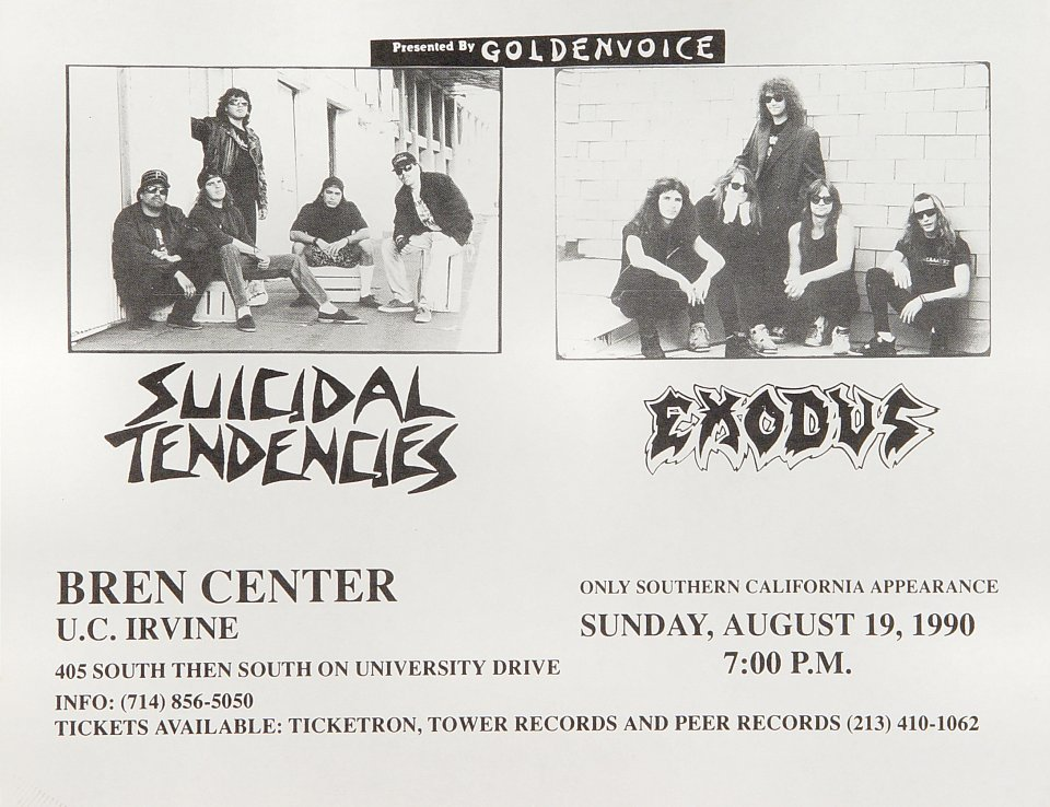"Suicidal Tendencies Handbill from Bren Center UC Irvine on 19 Aug 90: 8 1/2"" x 11"""