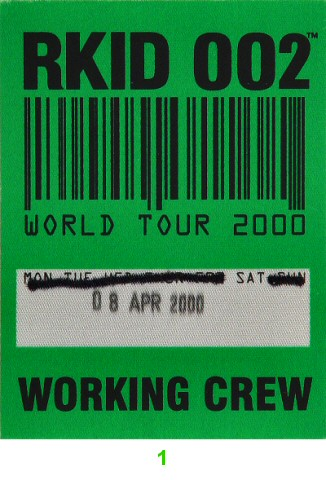 Oasis Backstage Pass from Berkeley Community Theatre on 08 Apr 00: Pass 1
