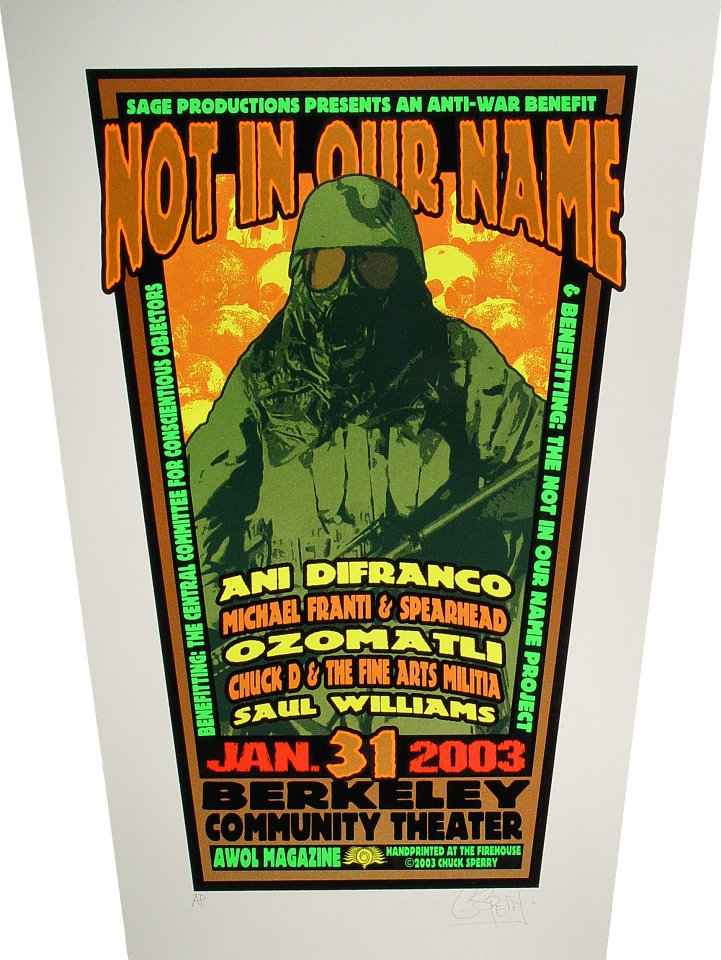 "Ani DiFranco Poster from Berkeley Community Theatre on 31 Jan 03: 19 1/2"" x 26 1/4"""