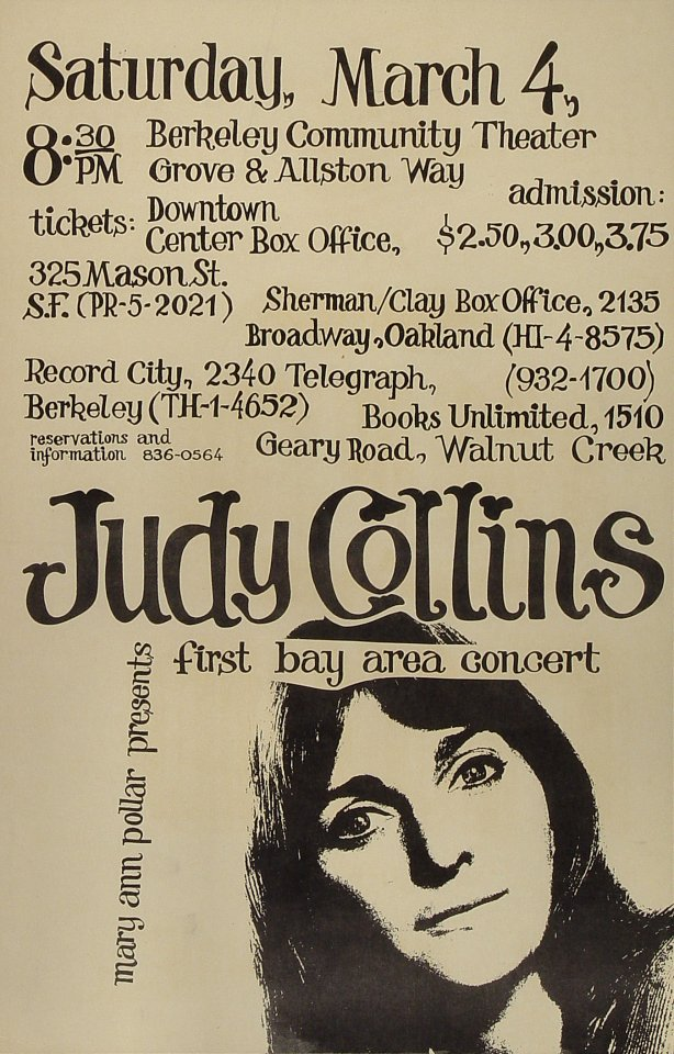 "Judy Collins Poster from Berkeley Community Theatre on 04 Mar 67: 11"" x 17"""
