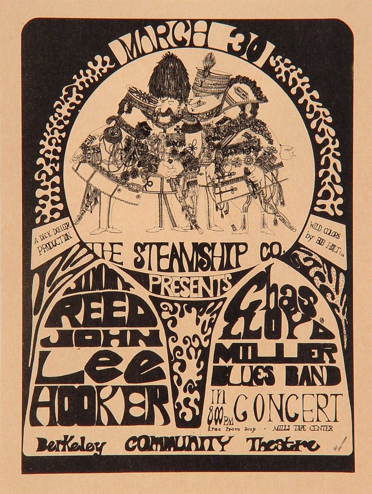 "Jimmy Reed Handbill from Berkeley Community Theatre on 30 Mar 67: 5 1/4"" x 7"""