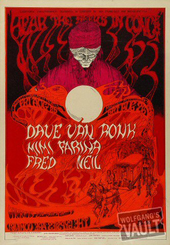 "Dave Van Ronk Poster from Berkeley Community Theatre on 25 Aug 67: 14"" x 20"""