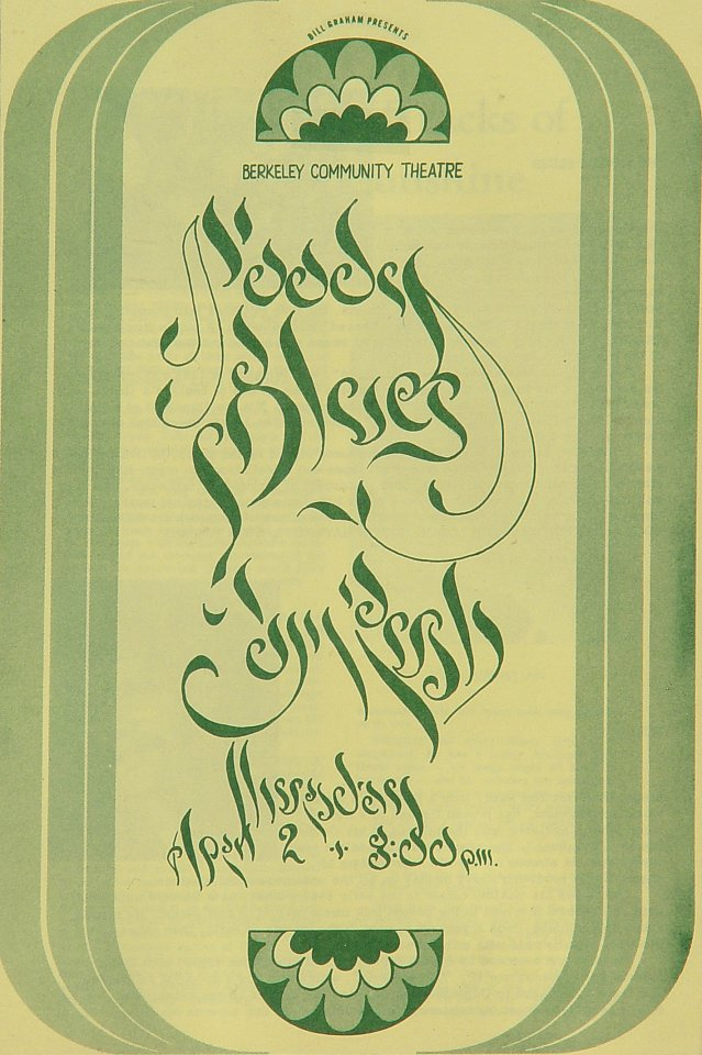 "The Moody Blues Program from Berkeley Community Theatre on 02 Apr 70: 5 1/2"" x 8 1/2"""