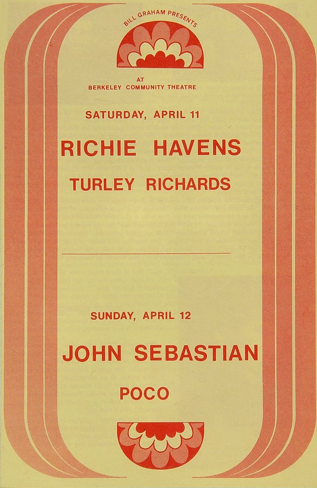 "Richie Havens Program from Berkeley Community Theatre on 11 Apr 70: 5 1/2"" x 8 1/2"""
