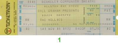 The Hollies 1970s Ticket from Berkeley Community Theatre on 18 Nov 72: Ticket One