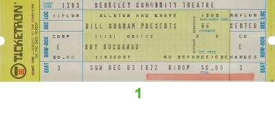 Roy Buchanan 1970s Ticket from Berkeley Community Theatre on 03 Dec 72: Ticket One