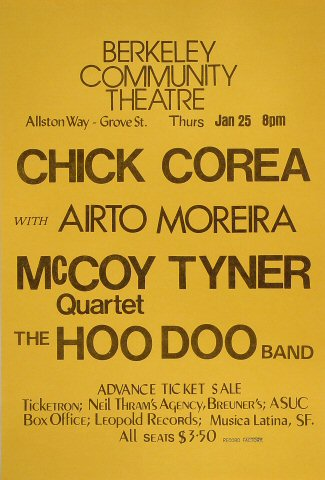 "Chick Corea Poster from Berkeley Community Theatre on 25 Jan 73: 11 1/2"" x 17"""