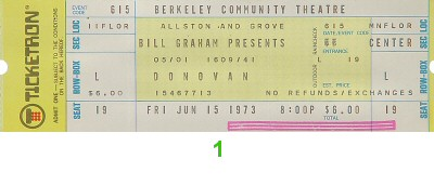 Donovan 1970s Ticket from Berkeley Community Theatre on 15 Jun 73: Ticket One