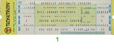Uriah Heep 1970s Ticket from Berkeley Community Theatre on 20 Sep 74: Ticket One
