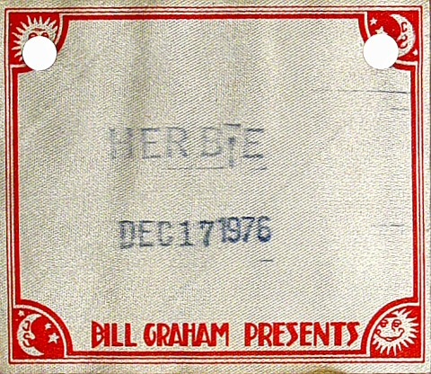 Herbie Hancock Backstage Pass from Berkeley Community Theatre on 17 Dec 76: Pass 1